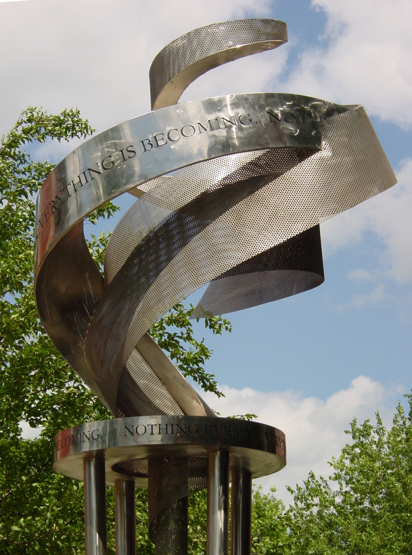 "The Sculpture ""Air Spiral"" is located outside the Student Services Building"